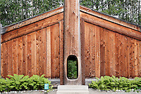 Wooden clan house, Alaska Native Heritage Center, Anchorage, Alaska, USA