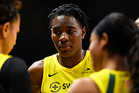 Washington, DC - June 14, 2019: Seattle Storm forward Natasha Howard (6) in the huddle during game between Seattle Storm and Washington Mystics at the St. Elizabeths East Entertainment and Sports Arena in Washington, DC. The Storm hold on to defeat the Mystics 74-71. (Photo by Phil Peters/Media Images International)