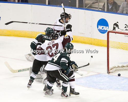 Max Novak (Union - 18), Will Yanakeff (MSU - 37), Brock Shelgren (MSU - 5), Jeremy Welsh (Union - 27), Torey Krug (MSU - 44) - The Union College Dutchmen defeated the Michigan State University Spartans 3-1 in their NCAA East Regional semifinal on Friday, March 23, 2012, at the Webster Bank Arena in Bridgeport, Connecticut.