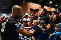 San Jose, CA - Saturday May 06, 2017: Fans, Victor Bernardez after a Major League Soccer (MLS) match between the San Jose Earthquakes and the Portland Timbers at Avaya Stadium.