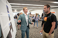 "Ian Van Dusen presents, ""Pattern and Signature of Holocene Soil Erosion in the Icelandic Highlands as Recorded by Lake Sediments""<br /> Mentor: Darren Larsen, Geology<br /> Occidental College's Undergraduate Research Center hosts their annual Summer Undergraduate Research Conference on July 31, 2019. Student researchers presented their work as either oral or poster presentations at this final conference. The program lasts 10 weeks and involves independent research in all departments.<br /> (Photo by Marc Campos, Occidental College Photographer)"