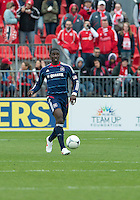 21 April 2012: Chicago Fire defender Jalil Anibaba #6 in action during a game between the Chicago Fire and Toronto FC at BMO Field in Toronto..The Chicago Fire won 3-2....