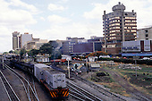 Lusaka, Zambia. Goods train at the station in the city centre.