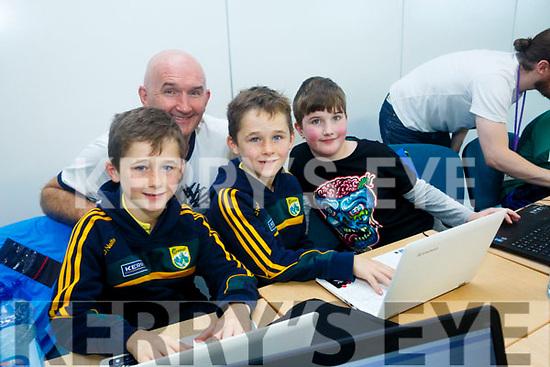 Enjoying Tralee CoderDoJo at Tralee ITT on Saturday were Cahill Byrne, Fionn Byrne, Gabriel Falvey and David Byrne