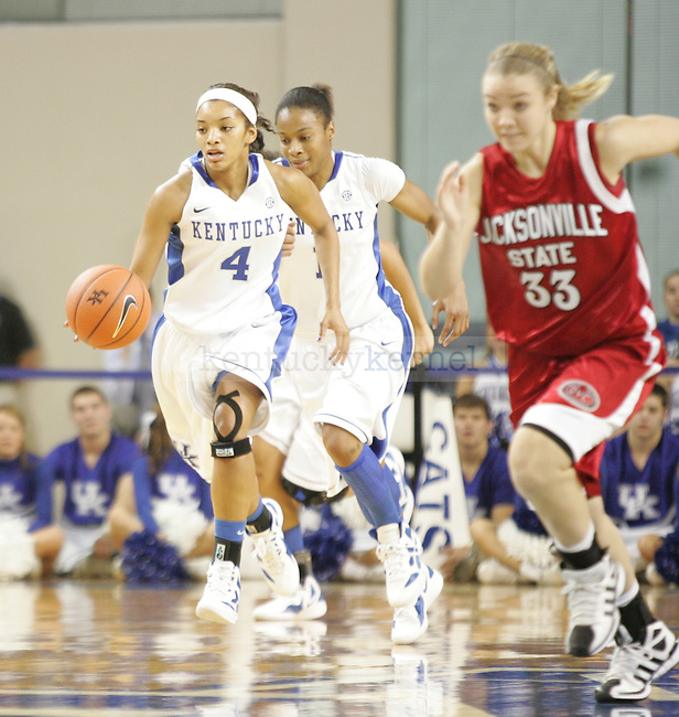 UK guard Keyla Snowden brings the ball up court during the first half of UK's Women's basketball game against Jacksonville State in Lexington, Ky. on 11/15/11. Photo by Quianna Lige | Staff