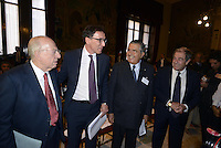 Roma, 30 Giugno 2014<br /> Montecitorio<br /> Convegno su Economia digitale e industria culturale con Fedele Confalonieri presidente Mediaset, Francesco Boccia,  Carlo De Benedetti presidente del Gruppo Espresso e Giovanni Minoli.<br /> Rome, June 30, 2014 <br /> Montecitorio<br /> Conference on Digital Economy and culture industry with Mediaset chairman Fedele Confalonieri, Francesco Boccia,   Carlo De Benedetti, chairman of the Espresso Group and the journalist Giovanni Minoli.
