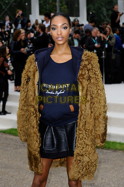 LONDON, ENGLAND - SEPTEMBER 21:  Jourdan Dunn attending the Burberry Prorsum Spring/Summer 2016 show during London Fashion Week at Kensington Gardens, on September 21, 2015 in London, England.<br /> CAP/MAR<br /> &copy; Martin Harris/Capital Pictures