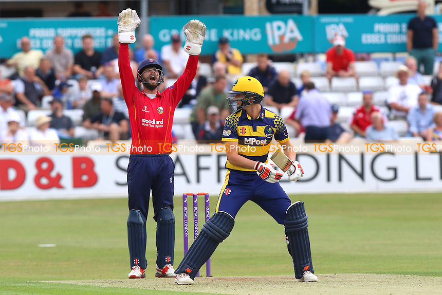 James Foster of Essex with a successful appeal for the wicker of Aneurin Donald during Essex Eagles vs Glamorgan, Royal London One-Day Cup Cricket at the Essex County Ground on 26th July 2016