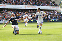 Leeds United's Ezgjan&nbsp;Alioski and Millwall's Murray Wallace<br /> <br /> Photographer Rob Newell/CameraSport<br /> <br /> The EFL Sky Bet Championship - Millwall v Leeds United - Saturday 15th September 2018 - The Den - London<br /> <br /> World Copyright &copy; 2018 CameraSport. All rights reserved. 43 Linden Ave. Countesthorpe. Leicester. England. LE8 5PG - Tel: +44 (0) 116 277 4147 - admin@camerasport.com - www.camerasport.com