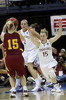 BERKELEY, CA - MARCH 30: Lindy La Rocque closes out on an Iowa State guard during Stanford's 74-53 win against the Iowa State Cyclones on March 30, 2009 at Haas Pavilion in Berkeley, California.