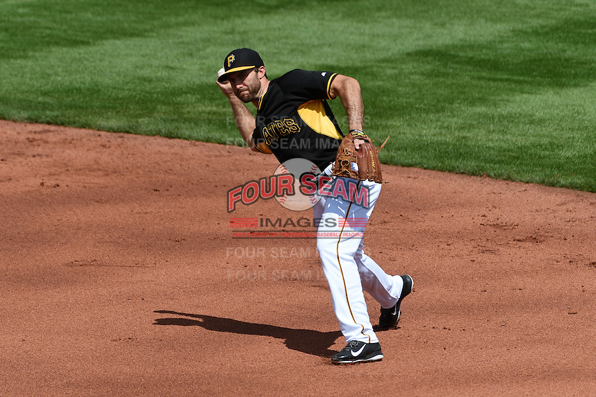 Pittsburgh Pirates second baseman Steve Lombardozzi (23) during the Black & Gold intrasquad game on March 2, 2015 at McKechnie Field in Bradenton, Florida.  (Mike Janes/Four Seam Images)