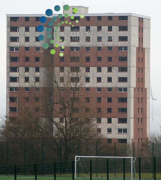 Octavia Court, Greenock being prepared for demolition and the exclusion zone being patrolled  It will be demolished at 0230 on Sunday 20 February 2011 as it is adjacent to a railway line. Picture: Al Goold/Universal News and Sport (Europe) 2011.