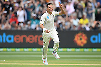 26th December 2019; Melbourne Cricket Ground, Melbourne, Victoria, Australia; International Test Cricket, Australia versus New Zealand, Test 2, Day 1; Trent Boult of New Zealand celebrates the wicket of Joe Burns of Australia - Editorial Use