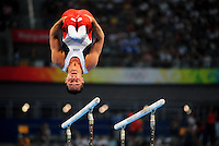 Aug. 9, 2008; Beijing, CHINA; Joey Hagerty (USA) performs on the horizontal bars during mens gymnastics qualification during the Olympics at the National Indoor Stadium. Mandatory Credit: Mark J. Rebilas-
