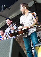The Infamous Stringdusters perform at the 2014 Jazz and Heritage Festival in New Orleans, LA.