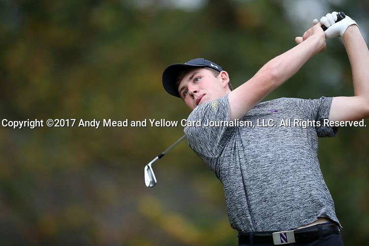 GREENSBORO, NC - OCTOBER 29: Northwestern's Eric McIntosh (SCO) on the 3rd tee. The third round of the UNCG/Grandover Collegiate Men's Golf Tournament was held on October 29, 2017, at the Grandover Resort East Course in Greensboro, NC.