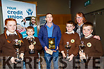 liabh A Mhadra NS ballyduff,Tralee who were third in the Chapter 23 Credit Union Table quiz at Ballyroe heights Hotel Tralee on Sunday with their principal Breda Dwyer Oisin O'Callaghan,hannah Ludgate,Breda Dwyer (principal), jake Segal and TJ O'Sullivan.