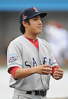 Infielder James Kang (3) of the Salem Red Sox, Carolina League affiliate of the Boston Red Sox, prior to a game against the Potomac Nationals on June 16, 2011, at Pfitzner Stadium in Woodbridge, Va. (Tom Priddy/Four Seam Images)