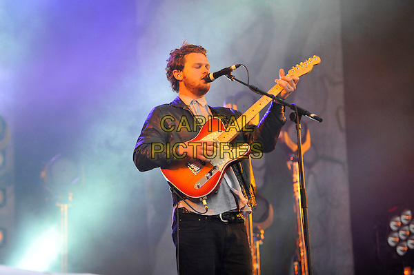 Joe Newman of Alt-J <br /> Performing at Glastonbury Festival, Worthy Farm, Pilton, Somerset, <br /> England, UK, 28th June 2013.<br /> half length microphone singing playing guitar live on stage concert gig <br /> CAP/MAR<br /> &copy; Martin Harris/Capital Pictures