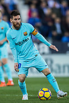 Lionel Andres Messi of FC Barcelona in action during the La Liga 2017-18 match between CD Leganes vs FC Barcelona at Estadio Municipal Butarque on November 18 2017 in Leganes, Spain. Photo by Diego Gonzalez / Power Sport Images