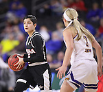 SIOUX FALLS, SD: MARCH 6: Amber Vidal #5 of Omaha looks past Western Illinois defender Emily Clemens #2 during the Summit League Basketball Championship on March 6, 2017 at the Denny Sanford Premier Center in Sioux Falls, SD. (Photo by Dick Carlson/Inertia)