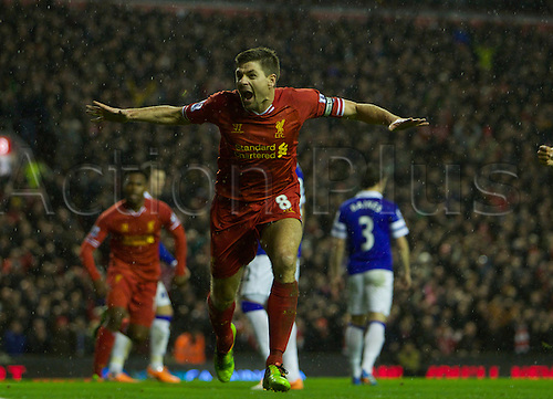 28.01.2014  Liverpool, England.   Liverpool's Steven Gerrard celebrates opening the scoring  during the Premier League game between Liverpool and Everton. From Anfield Stadium.