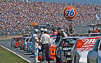 Starting grid, crowd, fans, Daytona 500, Daytona International Speedway, Daytona Beach, Florida, February 15, 1987. (Photo by Brian Cleary/www.bcpix.com)