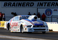 Aug. 16, 2013; Brainerd, MN, USA: NHRA pro stock driver Larry Morgan during qualifying for the Lucas Oil Nationals at Brainerd International Raceway. Mandatory Credit: Mark J. Rebilas-