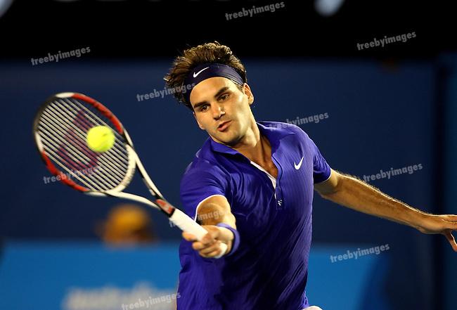 Roger Federer in action during  Round 1 Australian Open tennis, Roger Federer v Andreas Seppi of Italy. 19-01-09