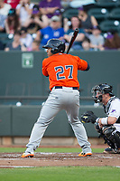 Dexture McCall (27) of the Buies Creek Astros at bat against the Winston-Salem Dash at BB&T Ballpark on April 15, 2017 in Winston-Salem, North Carolina.  The Astros defeated the Dash 13-6.  (Brian Westerholt/Four Seam Images)