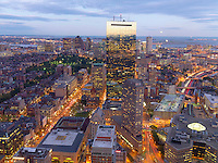 View of Copley Square from Prudential tower, dusk, Boston, MA