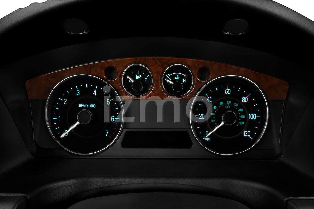 Instrument panel close up detail view of a 2009 Ford Flex