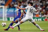 James of Real Madrid and Matias Delgado of FC Basel 1893 during the Champions League group B soccer match between Real Madrid and FC Basel 1893 at Santiago Bernabeu Stadium in Madrid, Spain. September 16, 2014. (ALTERPHOTOS/Caro Marin) /NortePhoto.com