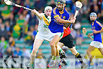 Paul Galvin Lixnaw in action against Daniel Collins Kilmoyley in the County Senior Hurling Final at Austin Stack Park Tralee on Sunday.