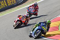 Aragon 24-09-2017 Moto Gp Spain photo Luca Gambuti/Image Sport/Insidefoto <br /> nella foto: Valentino Rossi-Marc Marquez-Andrea Dovizioso