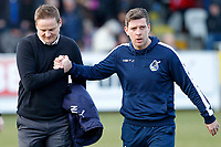 AFC Wimbledon manager, Neal Ardley and Bristol Rovers manager, Darrell Clarke during the Sky Bet League 1 match between AFC Wimbledon and Bristol Rovers at the Cherry Red Records Stadium, Kingston, England on 17 February 2018. Photo by Carlton Myrie.