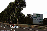 LE MANS, FRANCE: The Audi Sport Team Joest Audi R8 601 of Emanuele Pirro, Tom Kristensen and Frank Biela is driven onto the Mulsanne Straight during practice for the 24 Hours of Le Mans on June 16, 2002, at Circuit de la Sarthe in Le Mans, France.