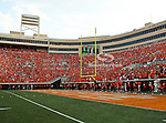Oklahoma State Cowboys fans fill the stadium during the game between the Louisiana-Lafayette Ragin Cajuns and the Oklahoma State Cowboys at the Boone Pickens Stadium in Stillwater, OK. Oklahoma State defeats Louisiana-Lafayette 61 to 34.