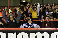 Grimsby Town fans celebrate the final whistle during the Vanarama National League match between Aldershot Town and Grimsby Town at the EBB Stadium, Aldershot, England on 5 April 2016. Photo by Paul Paxford / PRiME Media Images.
