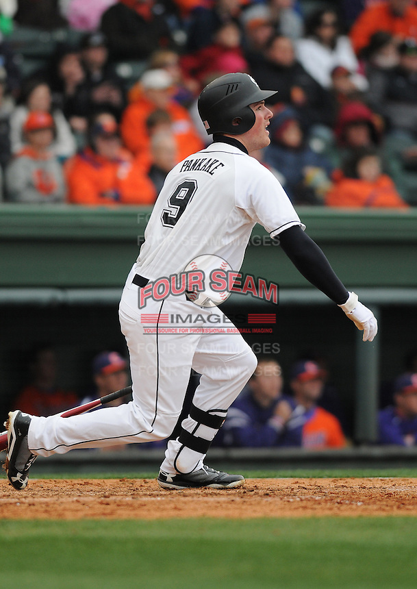 Shortstop Joey Pankake (9) of the South Carolina Gamecocks in a game against the Clemson Tigers on Saturday, March 2, 2013, at Fluor Field at the West End in Greenville, South Carolina. Clemson won the Reedy River Rivalry game 6-3. (Tom Priddy/Four Seam Images)