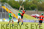 Aerial battle for possession between Darragh Shanahan of  Lixnaw and Ballyheigue's Jason Casey in the Senior Hurling Championship 1st round game in Austin Stack Park on Saturday