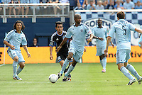 Julio Cesar (55) Kansas City midfielder brings the ball up field... Sporting Kansas City defetaed San Jose Earthquakes 2-1 at LIVESTRONG Sporting Park, Kansas City, Kansas.