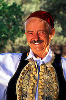 Athens , Greece.  Portrait of Greek Man in traditional attire.