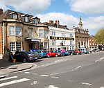 Cars parked outside The Bear hotel Devizes, Wiltshire, England