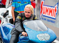 Mar 16, 2019; Gainesville, FL, USA; NHRA pro stock motorcycle rider Andie Rawlings during the Gatornationals at Gainesville Raceway. Mandatory Credit: Mark J. Rebilas-USA TODAY Sports
