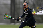 01 March 2015: Notre Dame's Kiera McMullan. The Duke University Blue Devils hosted the University of Notre Dame Fighting Irish on the West Turf Field at the Duke Athletic Field Complex in Durham, North Carolina in a 2015 NCAA Division I Women's Lacrosse match. Duke won the game 17-3.