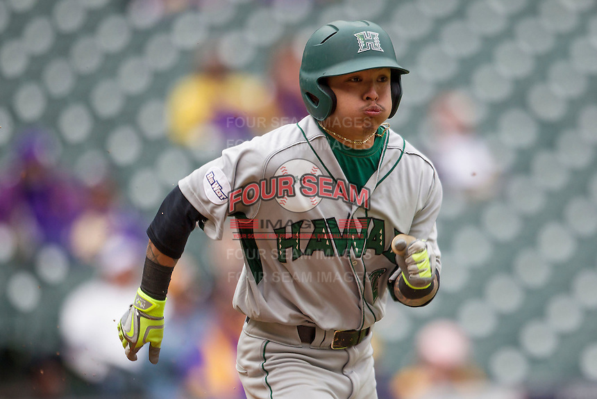 Hawaii Rainbow Warriors outfielder Kaeo Aliviado (2) runs to first base during the NCAA baseball game against the Nebraska Cornhuskers on March 7, 2015 at the Houston College Classic held at Minute Maid Park in Houston, Texas. Nebraska defeated Hawaii 4-3. (Andrew Woolley/Four Seam Images)