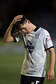 29th January 2019, Palmerston Park, Dumfries, Scotland; Scottish Cup football, 4th round replay, Queen of the South versus Dundee; Dejection for Callum Moore of Dundee at full time