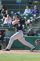University of Pittsburgh outfielder Steven Shelinsky Jr. #18 at bat during a game against the Coastal Carolina University Chanticleers at Ticketreturn.com Field at Pelicans Ballpark on February 16, 2014 in Myrtle Beach, South Carolina. Pittsburgh defeated Coastal Carolina by the score of 10-6. (Robert Gurganus/Four Seam Images)