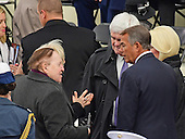 Businessman Sheldon Adelson, left, shares a discussion with former US House Speakers Newt Gingrich (Republican of Georgia), center, and John Boehner (Republican of Ohio) left, prior to Donald J. Trump being sworn-in as the 45th President of the United States on the West Front of the US Capitol on Friday, January 20, 2017.<br /> Credit: Ron Sachs / CNP<br /> (RESTRICTION: NO New York or New Jersey Newspapers or newspapers within a 75 mile radius of New York City)